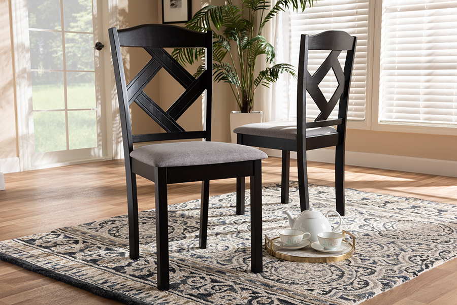 Set of 4 Baxton Studio Claire Dark Brown Finished Fabric Upholstered Dining Chair Grey
