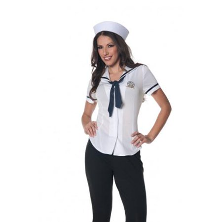 Sailor Fitted Shirt Underwraps Costumes 28316 White - Black And White Themed Costume Ideas