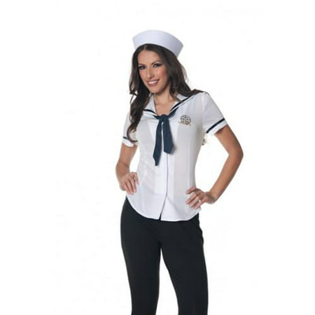 Sailor Fitted Shirt Underwraps Costumes 28316 White - Sailor Pinup Costume