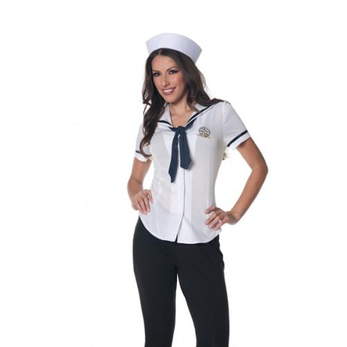 Sailor Fitted Shirt Underwraps Costumes 28316 White