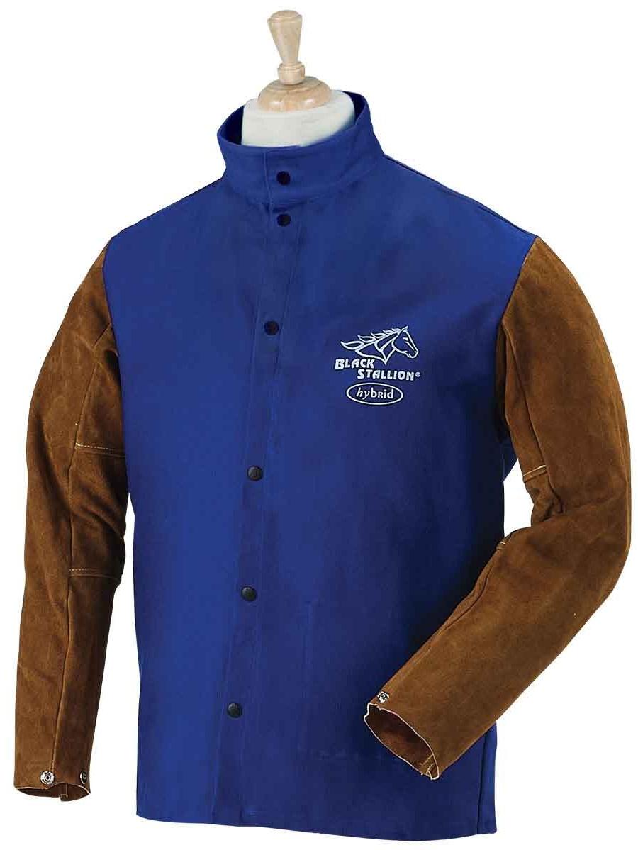 Black Stallion FRB9-30C/BS Hybrid FR Cotton/Cowhide Welding Jacket, Royal Blue, Large
