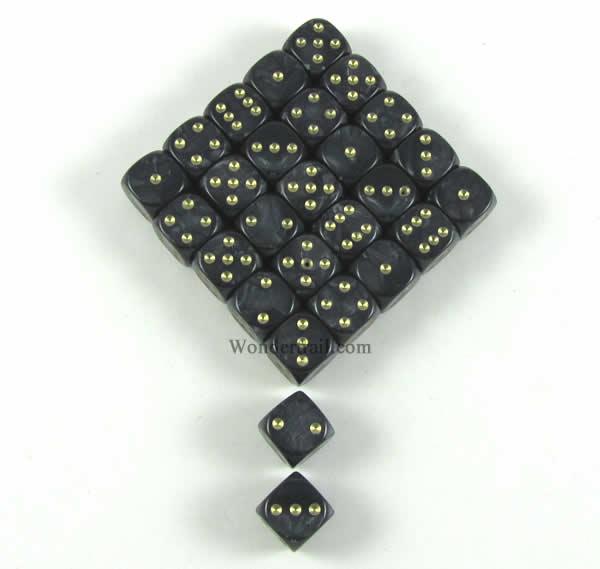 BLACK 12MM d6 PEARL DICE set