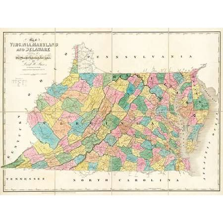 Map of Virginia Maryland and Delaware 1839 Poster Print by David Burr