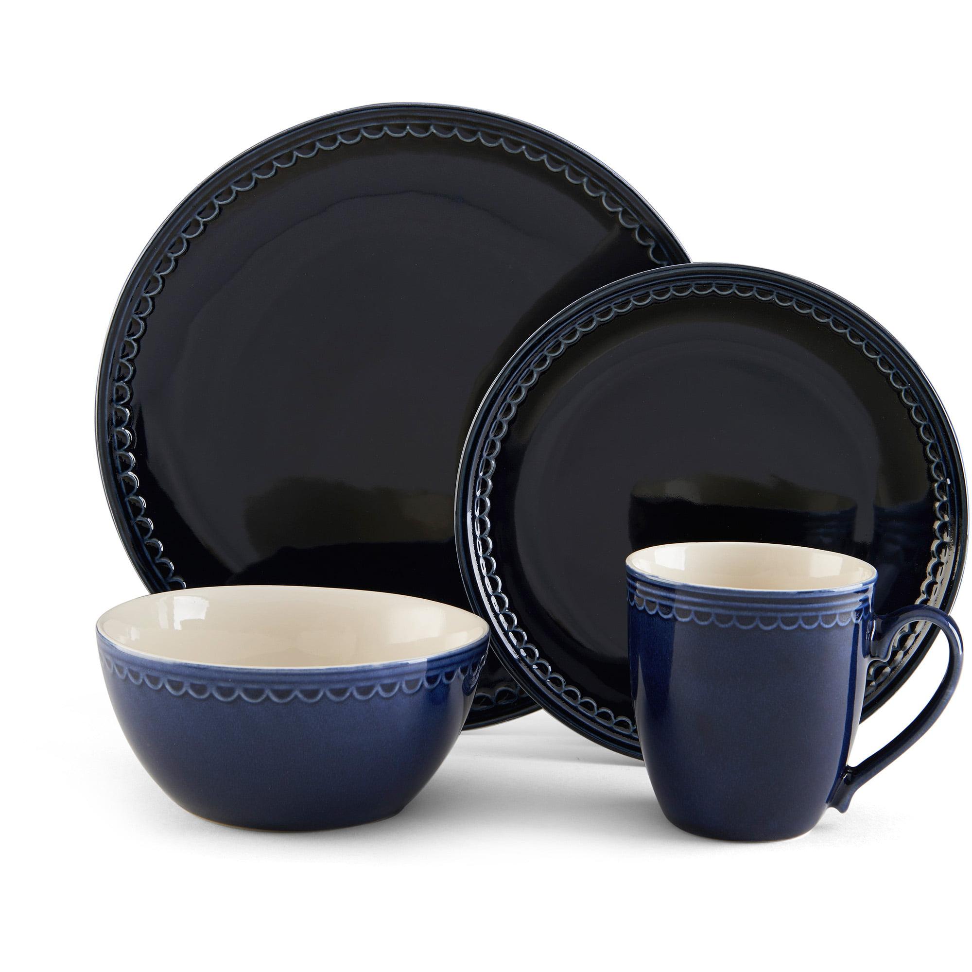 Pfaltzgraff Studio Sixteen Piece Blue Loop Stoneware Dinnerware Set