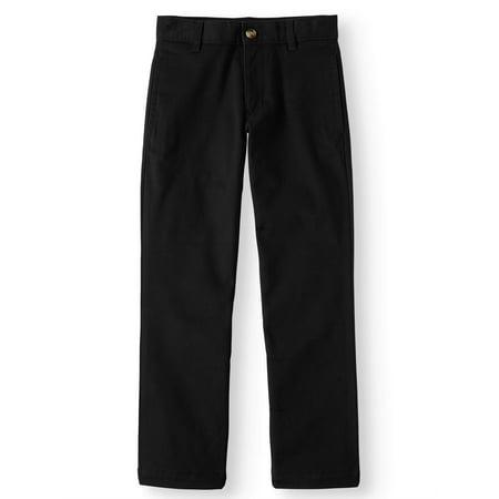 Wonder Nation Slim School Uniform Twill Pant with Double Knee (Little Boys & Big Boys)