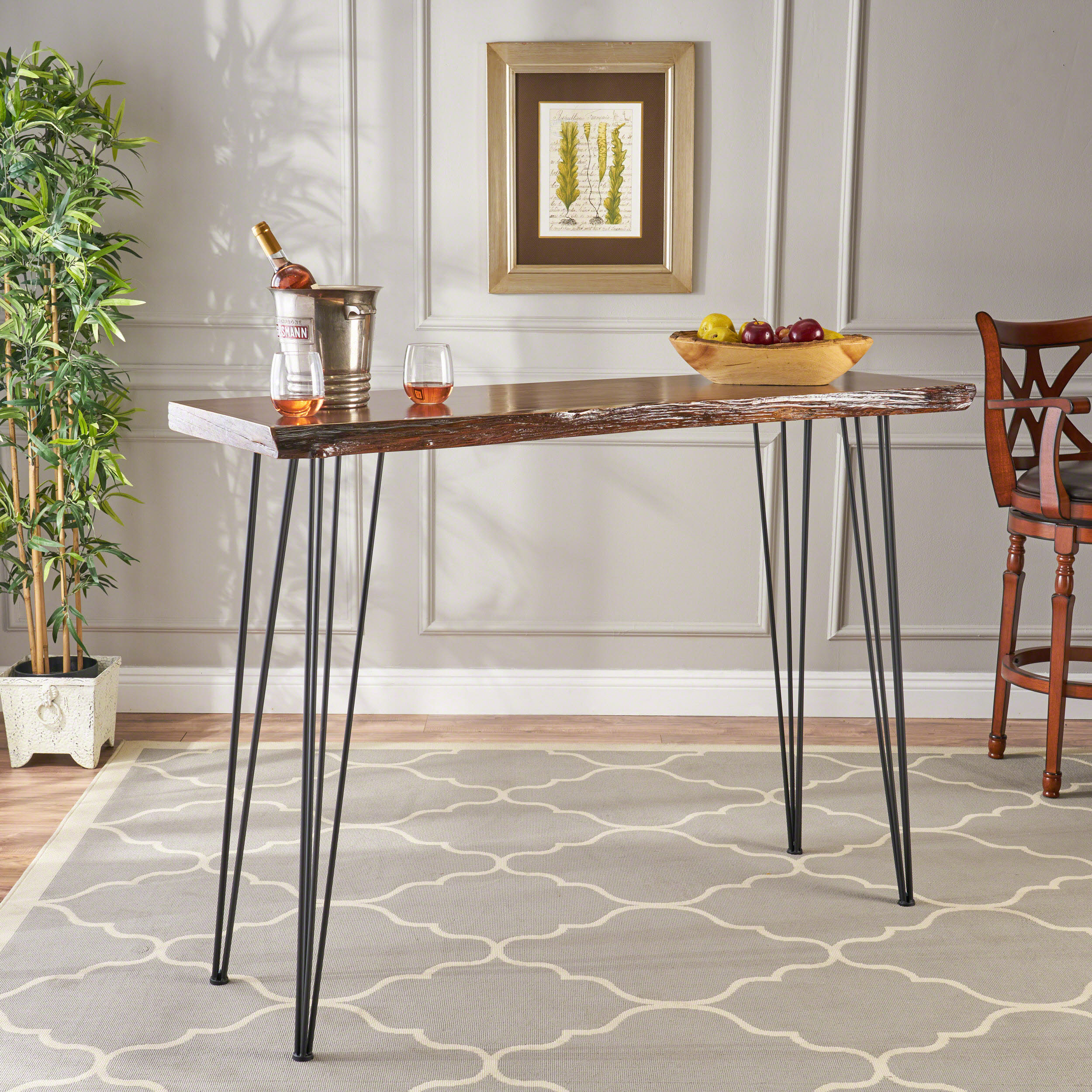 Noble House Industrial Faux Live Edge Rectangular Bar Table, Natural