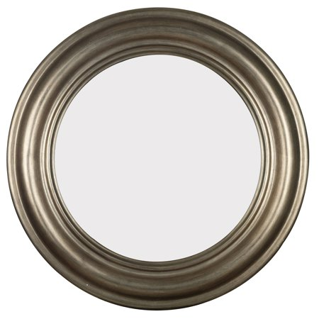Design Craft Pasco Round Antique Silver Wall Mirror