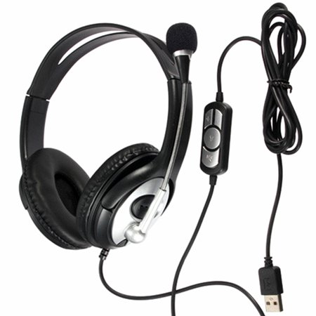 Wired Headset with Microphone, USB Headset Computer Headphone Headset Noise Cancelling and Hands-Free with Mic, Stereo On-Ear Wired Business Headset for Skype, Call Center, PC,
