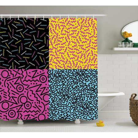 Indie Shower Curtain, Vintage Eighties Fashion Style Patterns Colorful Funky Pop Unusual Doodles Print, Fabric Bathroom Set with Hooks, Multicolor, by (Doodle Pops)