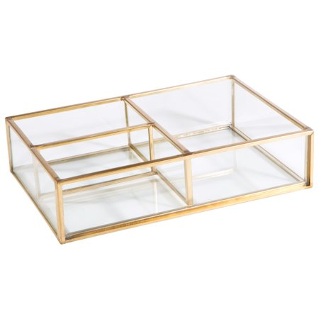 Home Details Vintage - Copper - Medium 3 Compartment Open Cosmetic & Jewelry Glass Tray Holder (Medium Round Tray)