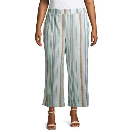 Terra & Sky Women's Plus Size Striped Wide Leg Linen Crop Pants Plus Size Wide Leg Drawstring Pant
