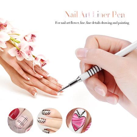 TMISHION Water Marble Dye Painting Pen Nail Art Liner Pen Painting Drawing Nail Polish Gel Pen Brush - Nail Art Halloween Water Marble