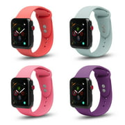 Coverlab 4-Pack Apple Watch 38/40mm Soft Silicone Sport Strap Loop Band Series 4 3 2 1 Nike+ (Purple,Mint, Pink, Peach)