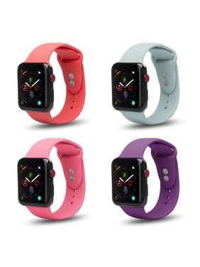 4 Pack Bundle Apple Watch 38/40mm Soft Silicone Sport Strap Loop Band Series 4 3 2 1 Nike+ (Purple,Mint, Pink, Peach)