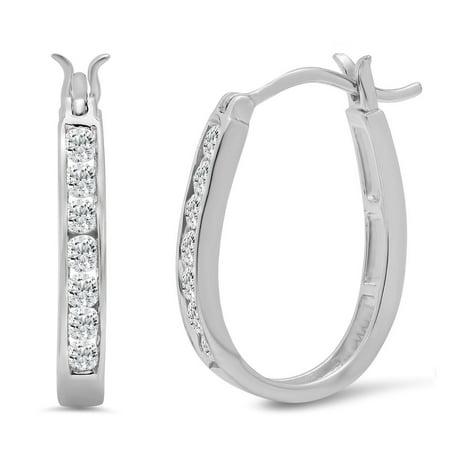 10K White Gold Diamond Hoop Earrings   1 2Ct Tw