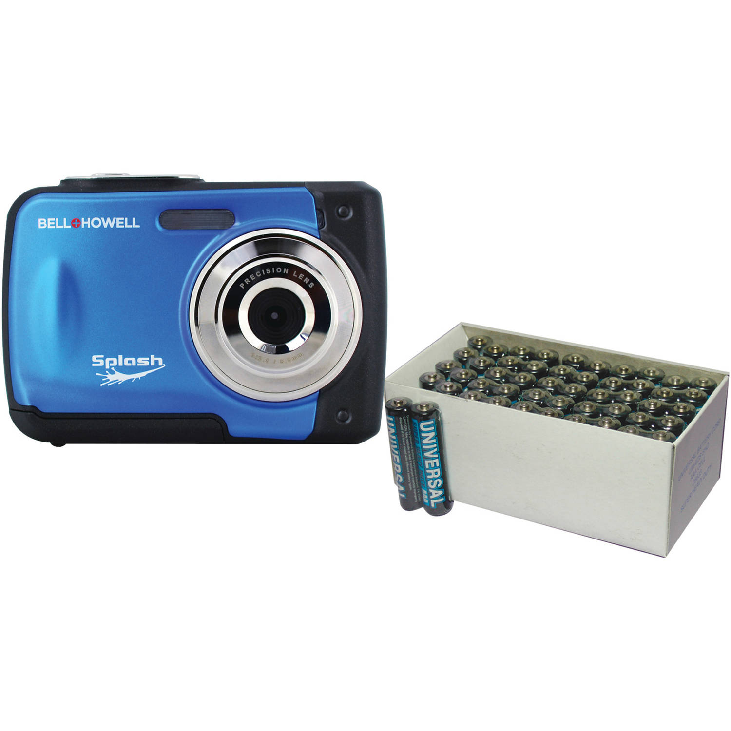 Bell+Howell Blue WP10 Waterproof Digital Camera with 12 Megapixels and UPG 50-Pack AAA Batteries