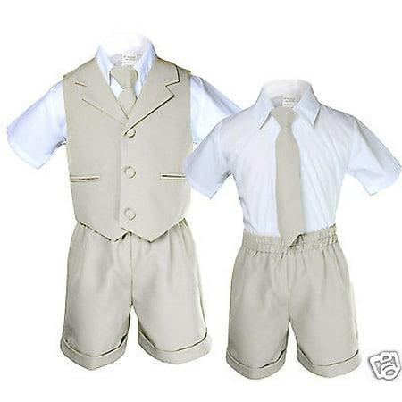 Light Khaki Infant Boy & Toddler Formal Vest Shorts Suit Size: S M L XL 2T 3T 4T](Size 2t 3t)