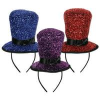 Beistle 80731-ASST Sparkling Top Hat Headbands, 1 Per Package