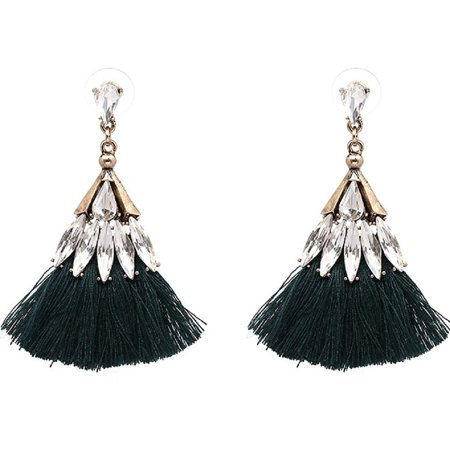 Yacht & Smith Crystal Chandelier Drop Earrings with Fringe Tassels (Dark Green)
