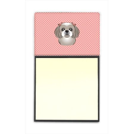 Checkerboard Pink Gray Silver Shih Tzu Refiillable Sticky Note Holder Or Postit Note Dispenser, 3 x 3 In. - image 1 de 1