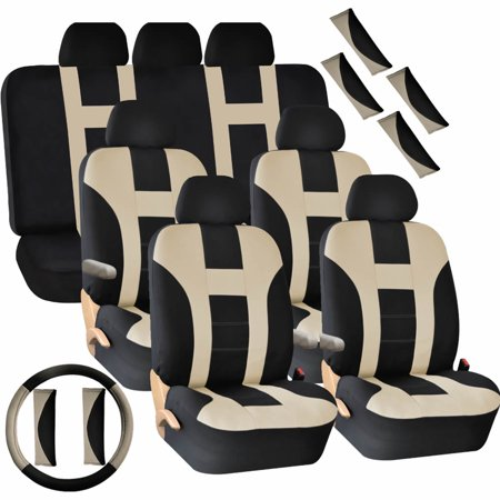 U.A.A. Inc.® 30 Piece 3-Row Seat Covers Split Bench Steering Wheel Cover Shoulder pads Set for Van SUV - Beige &