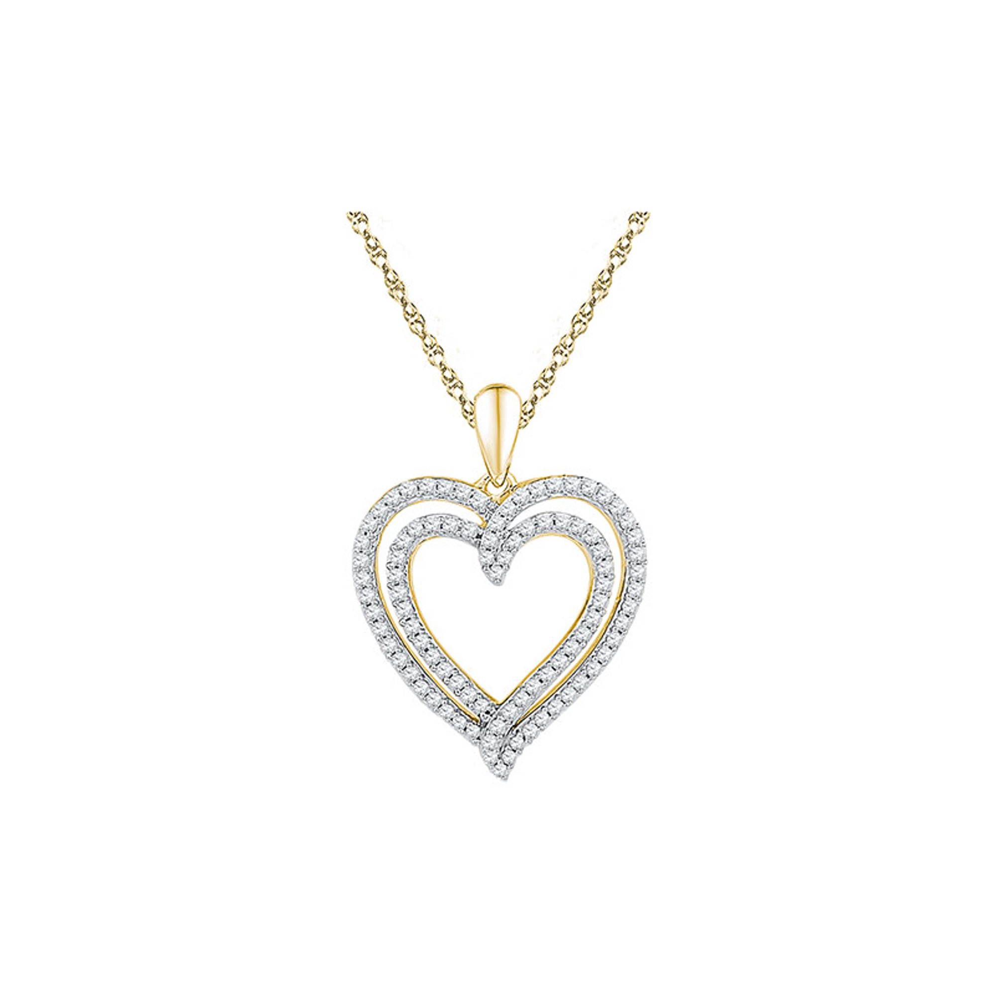 a9d7089b0a586d 10kt Yellow Gold Womens Round Diamond Double Frame Heart Pendant 1/2 Cttw |  Walmart Canada