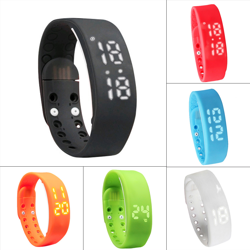 Rechargeable Durable 3D LED Pedometer USB Sports Smart Wristband Bracelet Bangle
