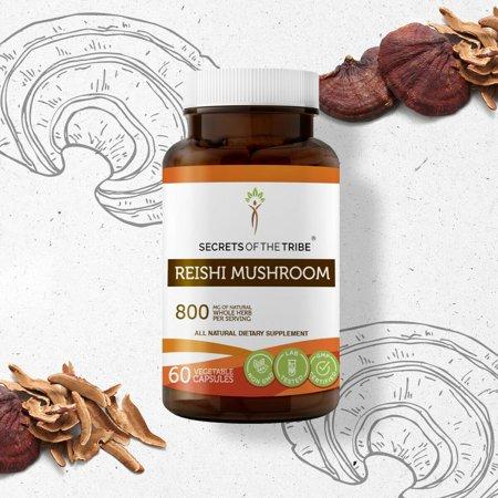Secrets of the Tribe Reishi Mushroom 60 Capsules, Organic Mushroom Ganoderma Lucidum Contains a High level of Antioxidants 400 mg
