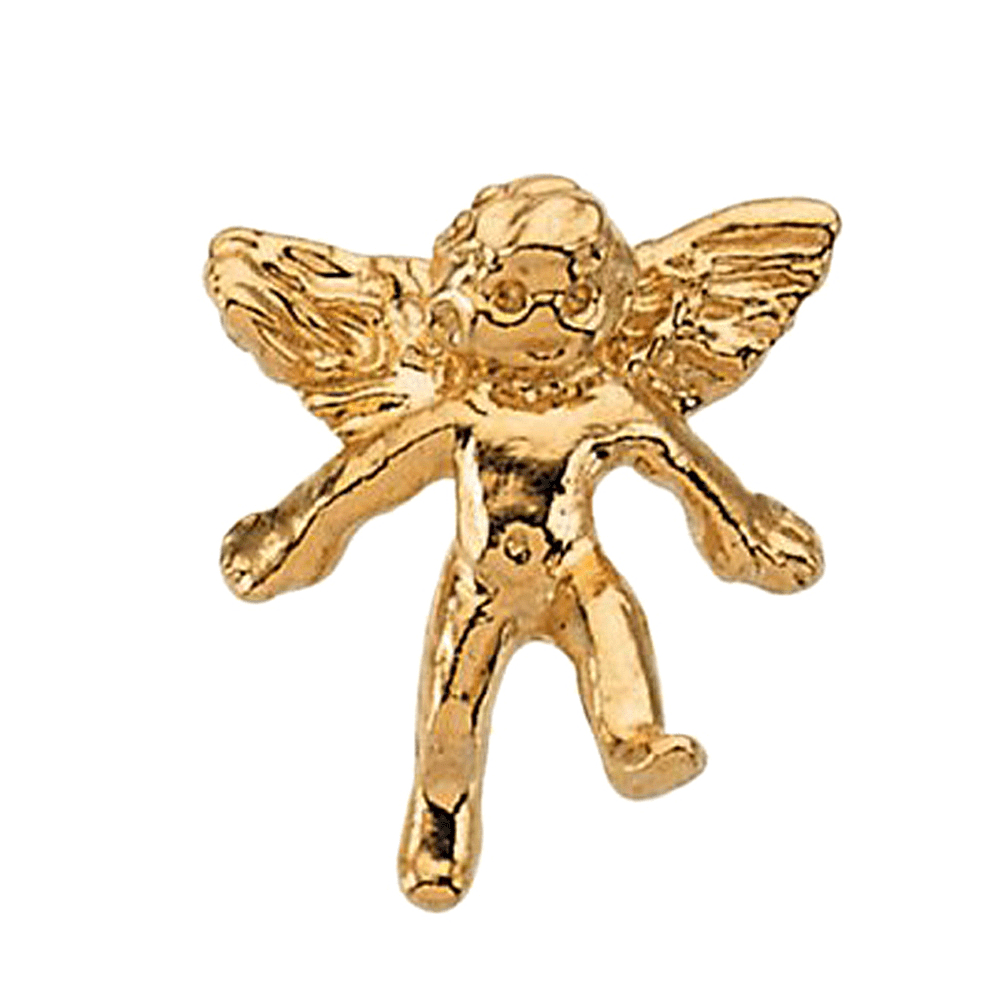 14K Yellow Gold Playing Child Angel Pin Brooch by