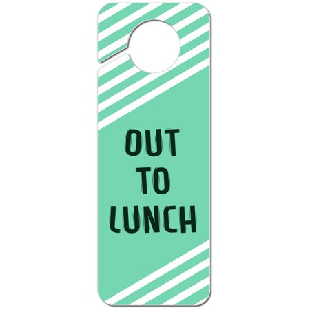 Out to Lunch Teal with White Stripes Plastic Door Knob Hanger - Teak Handle