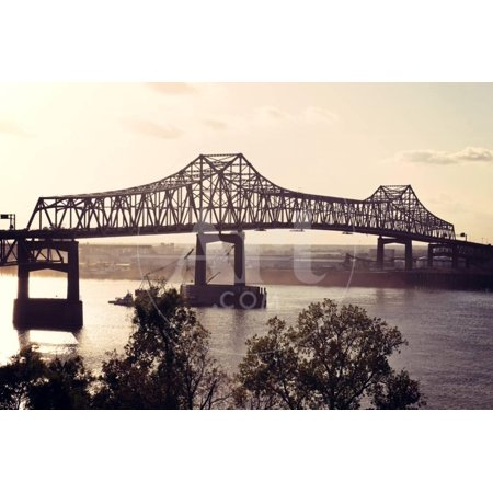 Bridge on Mississippi River in Baton Rouge Print Wall Art By