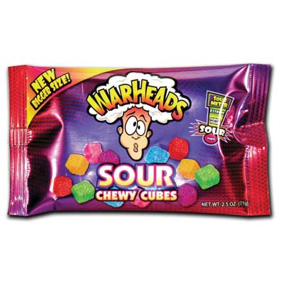 Warheads Sour Chewy Cubes Bag-Display, 2.5oz., 15 Bags/order