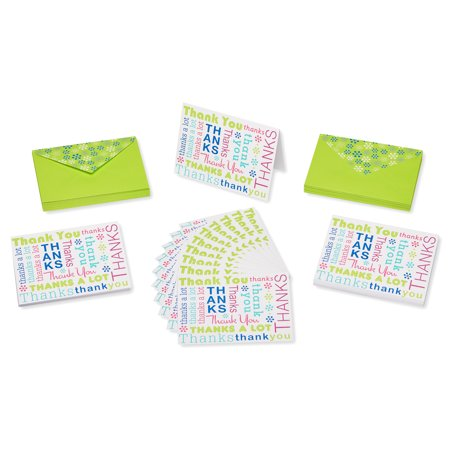 American Greetings 50 Count Thank You Cards and Lime Green Envelopes