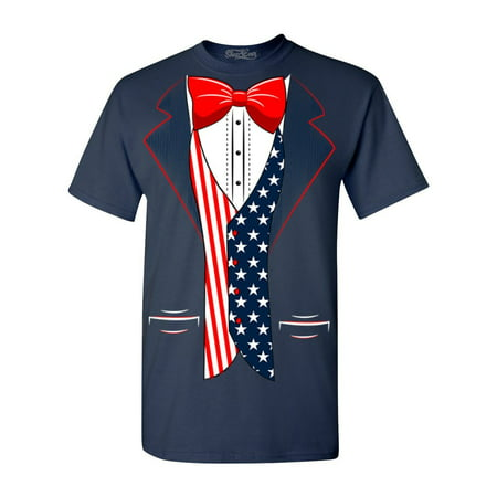 Shop4Ever Men's 4th of July USA Tuxedo American Flag Costume Graphic T-shirt](4th Of July Costumes)