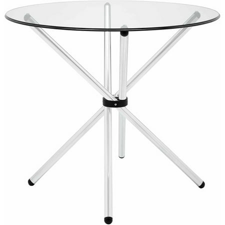 - Modway Baton Round Dining Table with Steel Base in Clear Glass