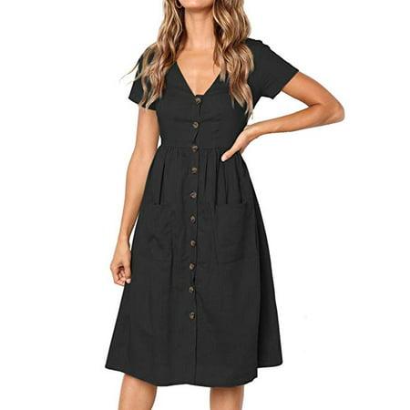White Flutter Sleeve Dress - Women's Summer Short Sleeve V Neck Button Down Swing Midi Dress with Pockets