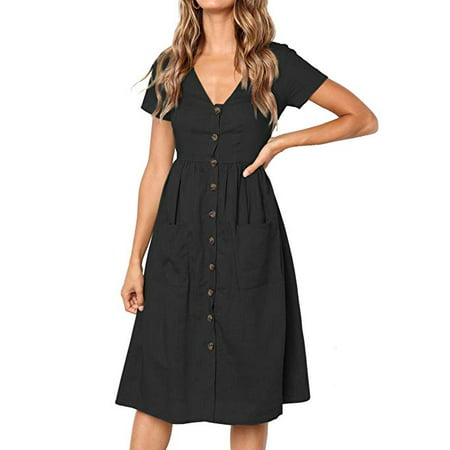 Women's Summer Short Sleeve V Neck Button Down Swing Midi Dress with - Halloween Dress Down Day
