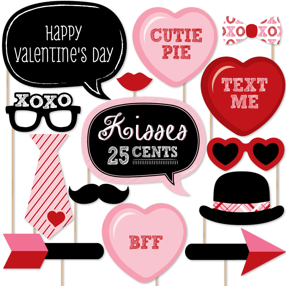 Valentine's Day - Photo Booth Props Kit - 20 Count
