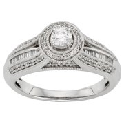 Sofia 10k White Gold 1/2ct TDW Round-cut Diamond Halo Engagement Ring (H-I, I1-I2) Size 5