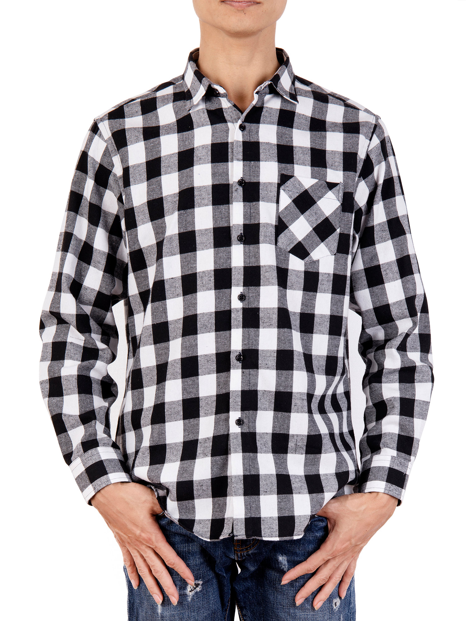 YYear Mens Big /& Tall Plaid Casual Long Sleeve Button Up Shirts