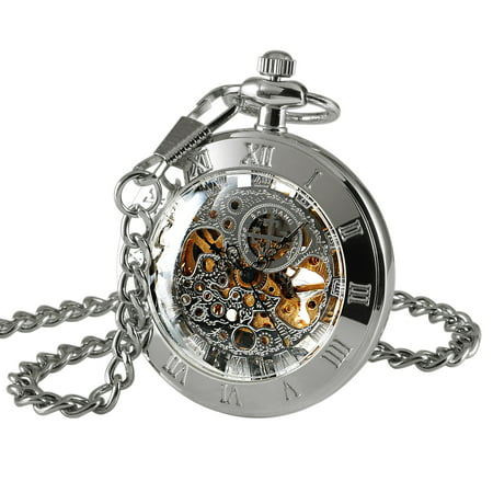Mens Hand-winding Mechanical Classic Pocket Watch Silver Open Face Chain