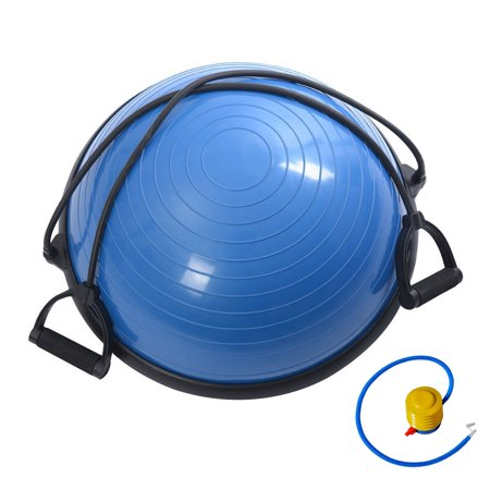 Zimtown Yoga Balance Ball Trainer Fitness Strength Exercise Hemisphere Workout with Resistance Bands and Pump for Stability Training Practice, 23 (Best Balance Ball For Office)