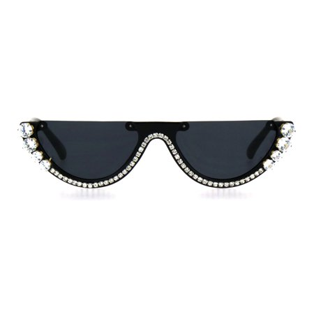 Rhinestone Tennis Iced Chain Crop Flat Top Cat Eye Goth Sunglasses (China Sunglasses)
