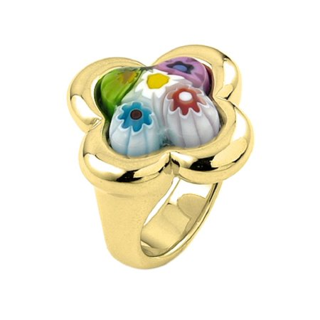 Murano Millefiori Flower Ring - Multi Color Millefiori With Electroform Silver Frame Flower Ring Gold-Tone Plated Sterling Silver