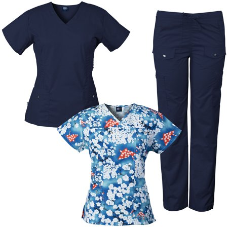 99f21ce0170 Medgear 3-Piece Women's Stretch Medical Scrubs Set and Printed Top ...