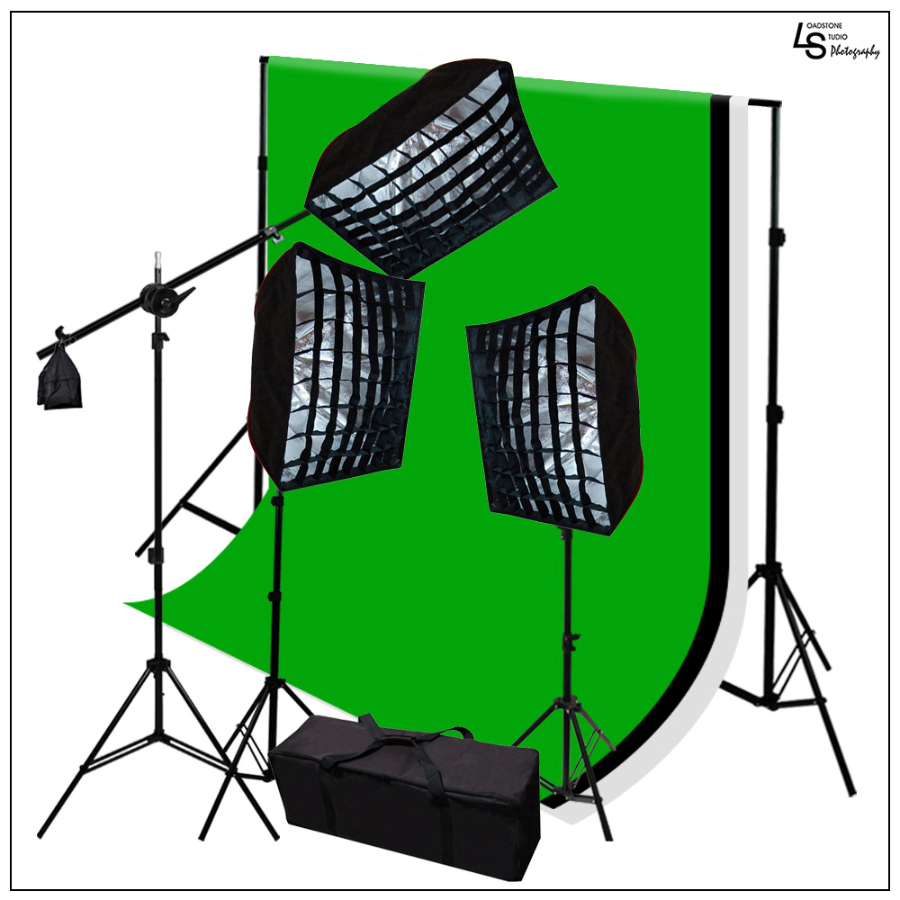 2400W Triple Softbox Diffusers Lighting Kit with Backgrou...