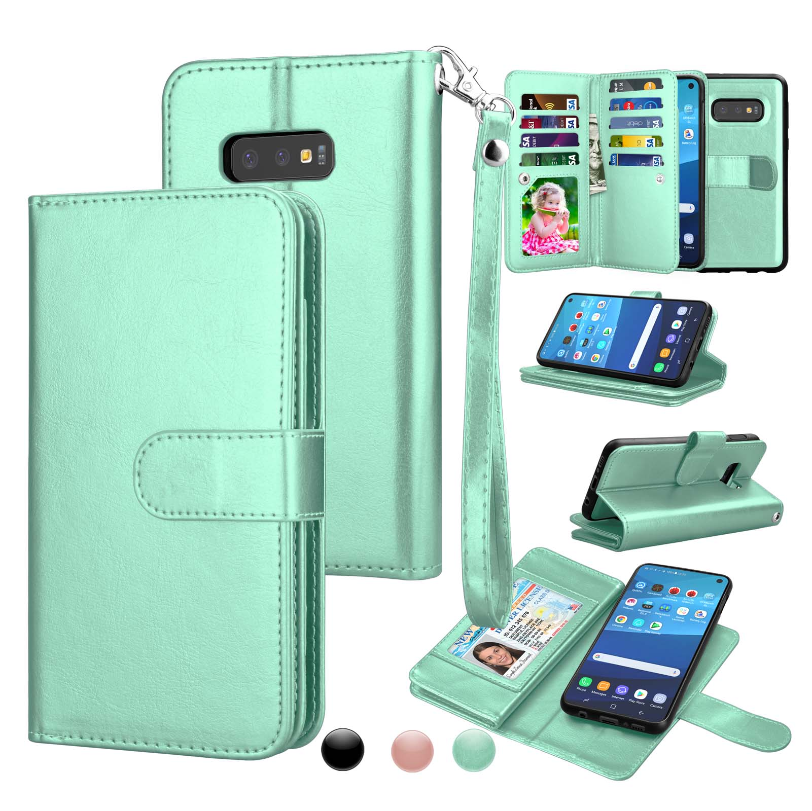 Wallet Cases For Samsung Galaxy S10 / S10E / S10+ / S10 Plus / S9 / S9+ / S9 Plus, Njjex [Wrist Strap] Luxury PU Leather Wallet Flip Protective Case Cover with 9 Card Slots & KickStand -Turquoise