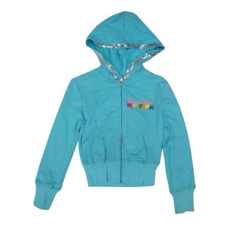Little Girls Blue Hannah Montana Sequined Glitter Hooded Top