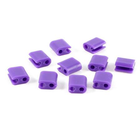 Unique Bargains 10 Pcs Purple Plastic Computer Tv Wire Cord Clips Clamp Organizer - Halloween Tv Clips
