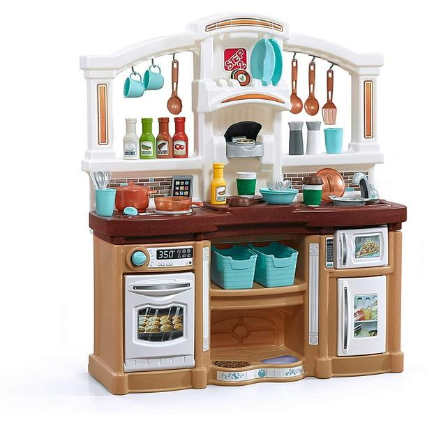 Step2 Fun With Friends Kitchen Large Plastic Play Kitchen With Realistic Lights Sounds Brown Kids Kitchen Playset 45 Pc Kitchen Accessories Set Walmart Com Walmart Com